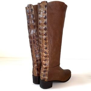 Stuart Weitzman croc brown leather boots riding